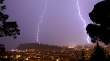 Un orage à Nice en mai 2017.