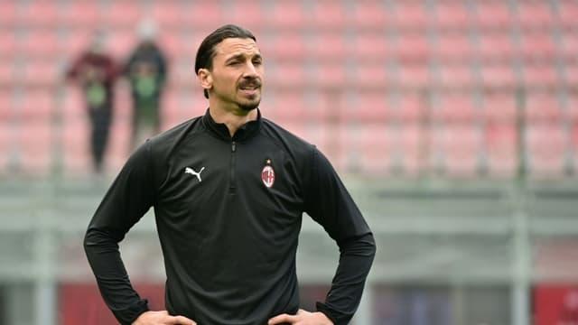L'attaquant suédois de l'AC Milan, Zlatan Ibrahimovic, avant le match de Série A contre l'Inter Milan, le 21 février 2021 au stade San Siro