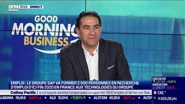 Gérald Karsenti, président de SAP France, a signé des accords avec deux sociétés de formation pour former des demandeurs d'emploi à ses technologies.