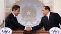 A l'occasion du 29e sommet franco-italien, à Rome, Silvio Berlusconi et Nicolas Sarkozy ont tourné la page de plusieurs semaines de tension entre la France et l'Italie sur les questions industrielles et d'immigration clandestine. /Photo prise le 26 avril
