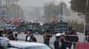 Les forces de sécurité montent la garde autour de l'Académie militaire, où 15 soldats ont perdu la vie le 21 octobre 2017.