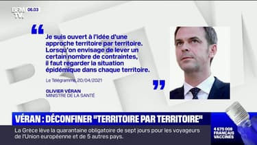 """Covid-19: Olivier Véran confirme la baisse et se dit ouvert à un déconfinement """"territoire par territoire"""""""