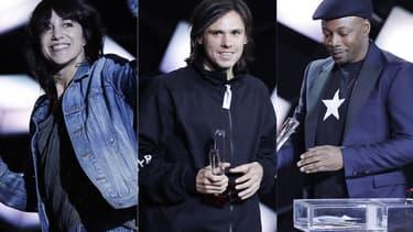 Charlotte Gainsbourg, Orelsan et MC Solaar, trois des artistes récompensés vendredi 9 février 2018 lors des 33e Victoires de la Musique