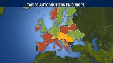 En rouge: accès aux autoroutes payant par le biais de péages                                                      En jaune: accès aux autoroutes payant par le biais d'un abonnement  En vert: accès aux autoroutes gratuit