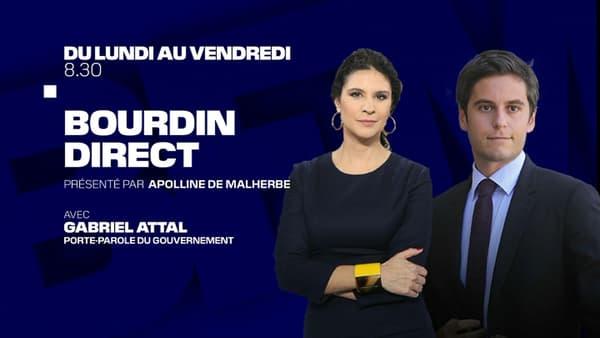 Gabriel Attal invité d'Apolline de Malherbe sur BFMTV, le 30 avril 2021.