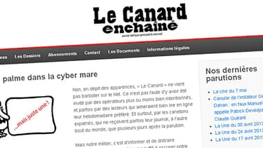 Une du site Le Canard enchaîné