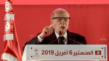 Le président tunisien Béji Caïd Essebsi lors d'un discours le 6 avril 2019.