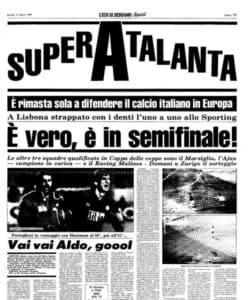 La Une de L'Eco di Bergamo au lendemain de l'exploit contre le Sporting et de la qualification de l'Atalanta pour les demi-finales de la Coupe des Coupes 1987-88