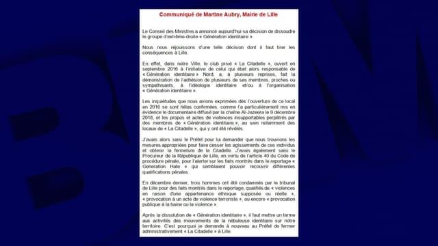 "Martine Aubry redemande la fermeture de ""la Citadelle"" à Lille"