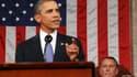Barack Obama s'adressant au Congrès américain, sous les yeux du président de la Chambre des représentants, John Boehner. Le président américain a dévoilé jeudi un plan de 447 milliards de dollars pour redresser l'économie américaine, soutenir l'emploi et