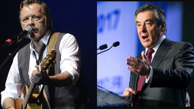 Renaud sur scène en 2007 et François Fillon, le 3 mars 2016.