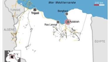 FRAPPES DE LA COALITION À AJDABIAH EN LIBYE