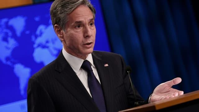 Le secrétaire d'Etat américain Antony Blinken, le 3 septembre 2021 lors d'une conférence de presse à Washington