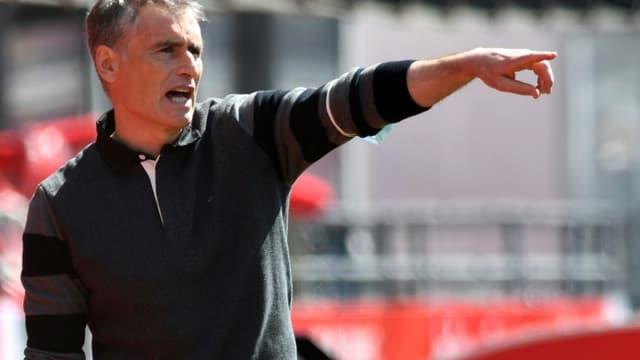 Olivier Dall'Oglio, alors entraîneur à Brest, lors du match de L1 à domicile contre Lens, le 18 avril 2021 au stade Francis Le Blé