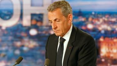 Nicolas Sarkozy lors du 20 h de TF1, le 3 mars 2021 à Boulogne Billancourt dans les Hauts-de-Seine
