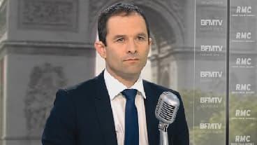 Benoît Hamon sur le plateau de BFMTV-RMC, le 12 mai 2014