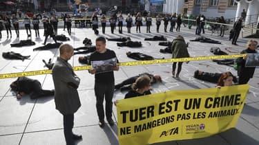 Action coup de poing de Peta France à Paris le 1er novembre 2017 -