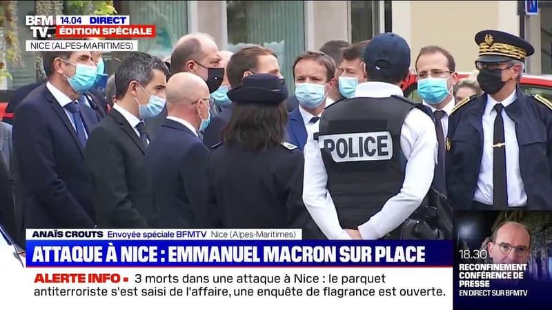 Attaque au couteau: Emmanuel Macron est arrivé à la basilique Notre-Dame de Nice