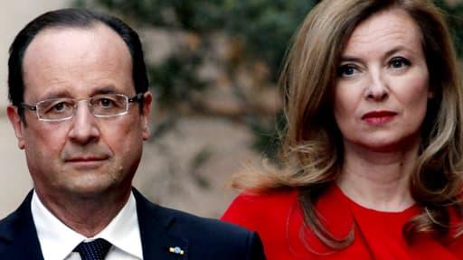 Valérie Trierweiler en compagnie de François Hollande, avant un dîner d'Etat à l'Elysée le 7 mai 2013.