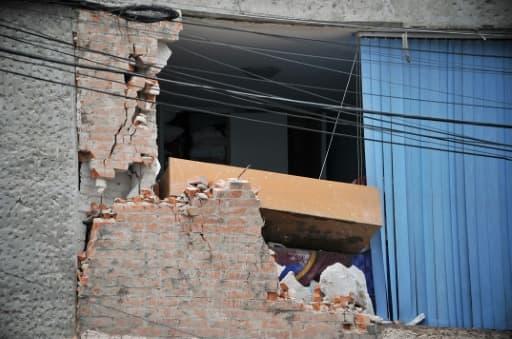 Vue d'un immeuble endommagé à Mexico , le 21 septembre 2017, deux jours après le puissant séisme qui a touché la capitale mexicaine.