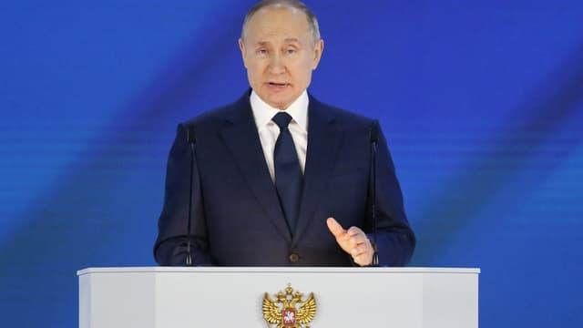Le président russe Vladimir Poutine lors de son discours annuel à la Nation le 21 avril 2021.