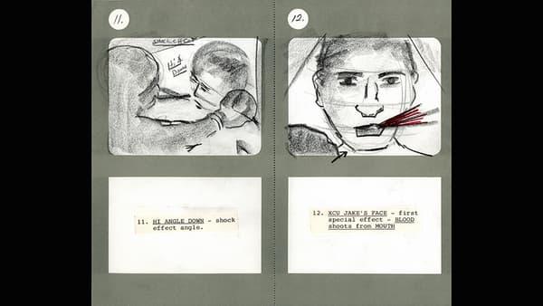 Storyboard de Martin Scorsese, Raging Bull, 1980.