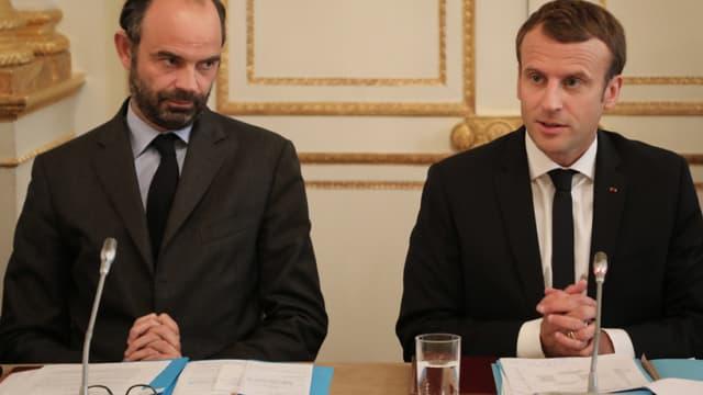 Le Premier ministre, Edouard Philippe et Emmanuel Macron, chef de l'Etat.