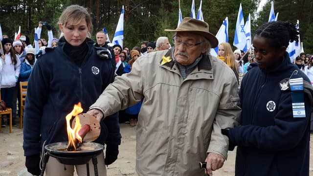 Samuel Willenberg en octobre 2013 à Treblinka.