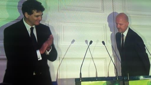 Arnaud Montebourg (ici avec Pierre Louette d'Orange) a tenu un discours étatiste, dirigiste, anti-concurrence et anti-mondialisation