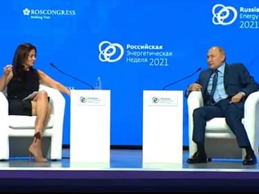 Vladimir Poutine et la journaliste américaine Hadley Gamble.