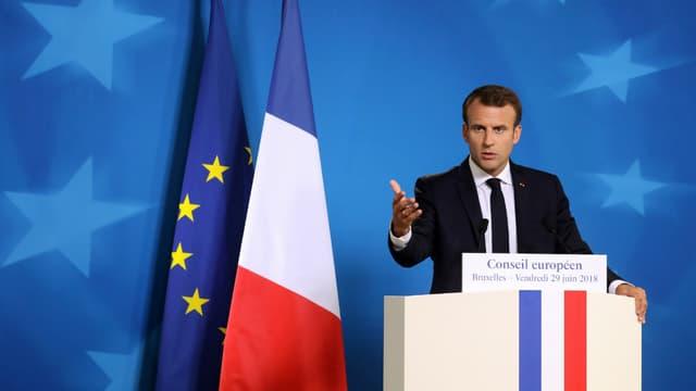 Emmanuel Macron au Conseil européen à Bruxelles le 29 juin 2018.
