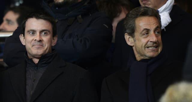 Manuel Valls et Nicolas Sarkozy au parc des Princes