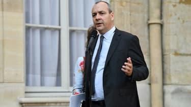 Laurent Berger parle à la presse à l'issue de son entretien avec Jean Castex, le 9 juilllet 2020 à Matignon