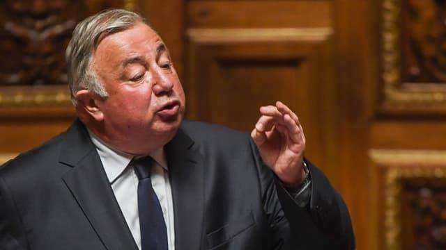 Gérard Larcher prononçant un discours après avoir été réélu à la tête du Sénat le 2 octobre 2017.