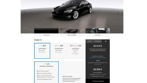 Sur le site officiel de Tesla en version allemande, la Model S la moins chère est affichée à 69.999 euros mais la marque évoque toujours la prime environnementale potentielle de 2000 euros.