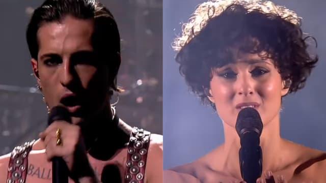Le chanteur de Måneskin, le groupe de rock qui a gagné le concours pour l'Italie, et Barbara Pravi