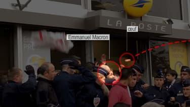 """Le ministre de l'Economie Emmanuel Macron a été bousculé lundi matin à Montreuil (Seine-Saint-Denis) et a essuyé des jets d'oeufs d'opposants à la loi travail, dont il a dénoncé la """"violence"""" et """"l'agressivité""""."""