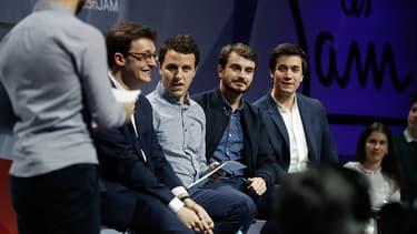 Jean Gaborit (au centre) entouré des autres cofondateurs des Jeunes avec Macron, le 17 mars 2018.