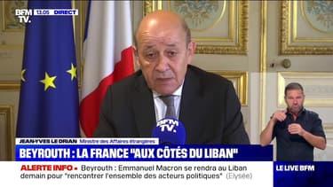 """Jean-Yves Le Drian espère """"mobiliser la communauté internationale"""" pour venir en aide au Liban"""