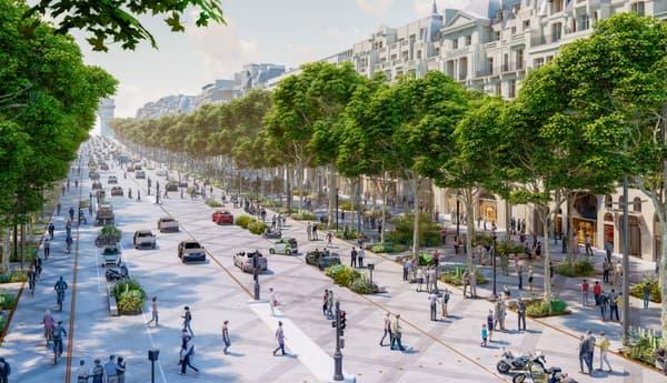 """Le projet """"Réenchanter les Champs"""" prévoit de végétaliser davantage l'avenue."""