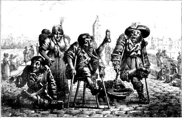 Quatre mendiants au Pont au Change, gravure de Jean Henry Marlet.