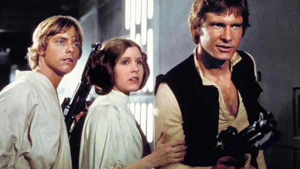 Mark Hamill, Carrie Fisher et Harrison Ford dans la première trilogie.