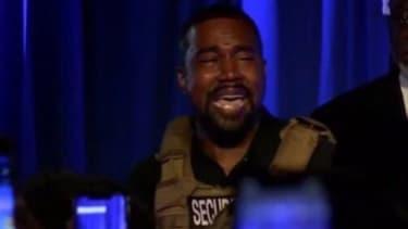 Kanye West, lors de son premier meeting pour lancer sa campagne en vue de la présidentielle américaine, le 19 juillet en Caroline du Sud.