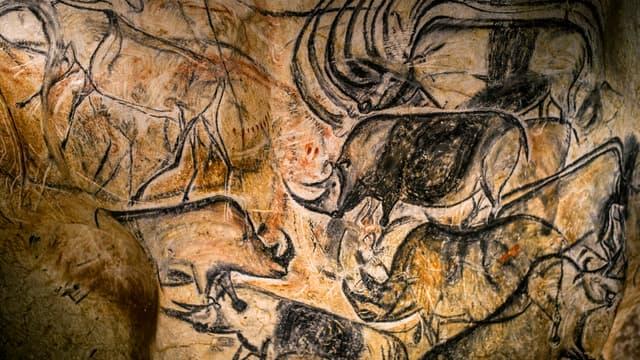 Reproduction d'une fresque de la grotte Chauvet