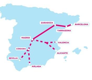 Les futures liaisons de Ouigo en Espagne