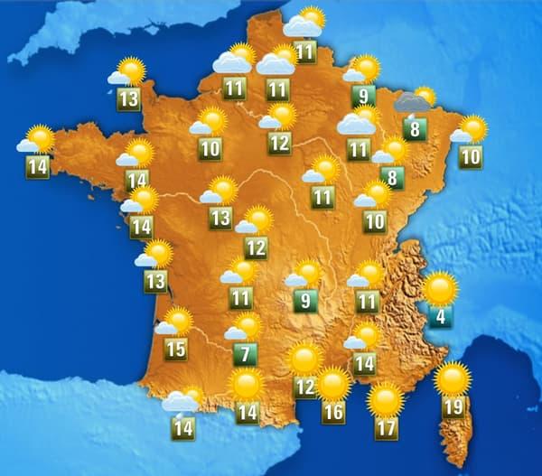 Les températures ce lundi après-midi