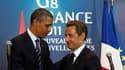 """A l'issue d'un entretien en marge du sommet du G8 à Deauville, Barack Obama et Nicolas Sarkozy ont affirmé que les Etats-Unis et la France étaient déterminés à """"finir le travail"""" en Libye. /Photo d'archives/REUTERS/Kevin Lamarque"""