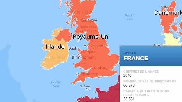 La France est l'un des pays européens où la surpopulation carcérale est la plus marquée.