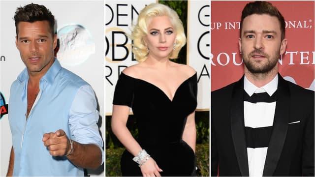 Ricky Martin, Lady Gaga et Justin Timberlake