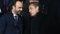 Edouard Philippe et Nicolas Sarkozy le 6 mars 2018 au Parc des Princes à Paris.